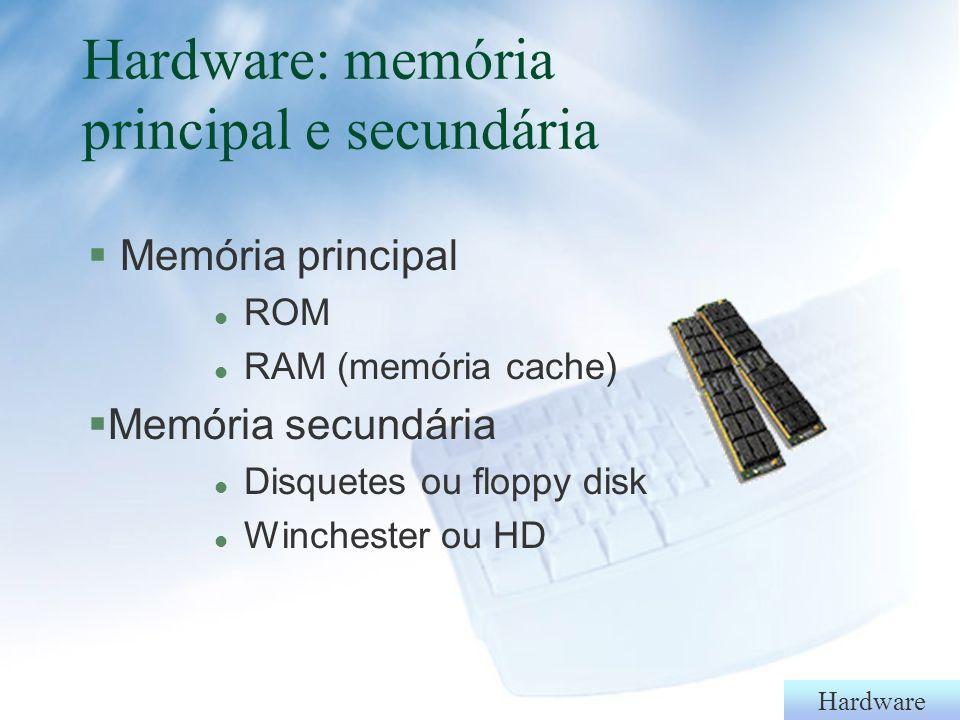 Hardware UCP ou CPU §Intel l 8080, 8086, 8088, 80286, 80386, 80486, Pentium, Pentium MMX, Pentium PRO, Pentium II Pentium III §AMD l 386, 486, 586, 686, K5, K6 §Cyrix l 486, 586, 686