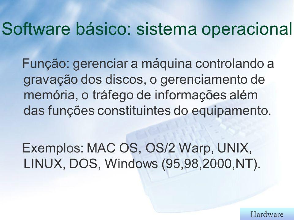 Hardware Software - Software básico: - Sistemas operacionais - Utilitários (Norton, anti-vírus) - Linguagens - Aplicativos: - Editor de texto - Banco de dados - Planilha eletrônicas - Apresentação