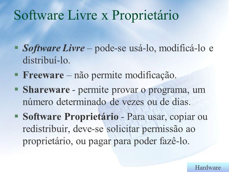 Hardware Vírus de computador §Cavalos-de-tróia (trojans) - permitem acesso remoto ao computador após a infecção.
