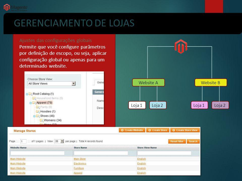 GERENCIAMENTO DE LOJAS Ajustes das configurações globais Permite que você configure parâmetros por definição de escopo, ou seja, aplicar configuração