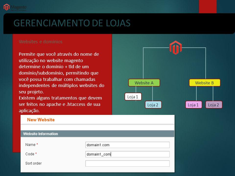 GERENCIAMENTO DE LOJAS Websites e domínios Permite que você através do nome de utilização no website magento determine o domínio + tld de um domínio/s