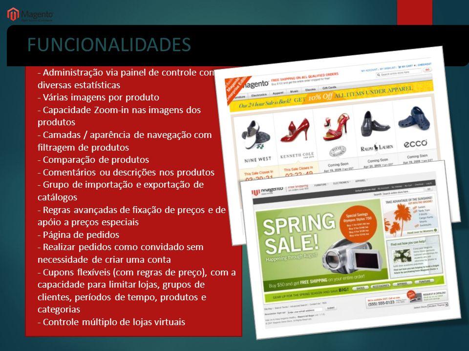 FUNCIONALIDADES - Administração via painel de controle com diversas estatísticas - Várias imagens por produto - Capacidade Zoom-in nas imagens dos pro
