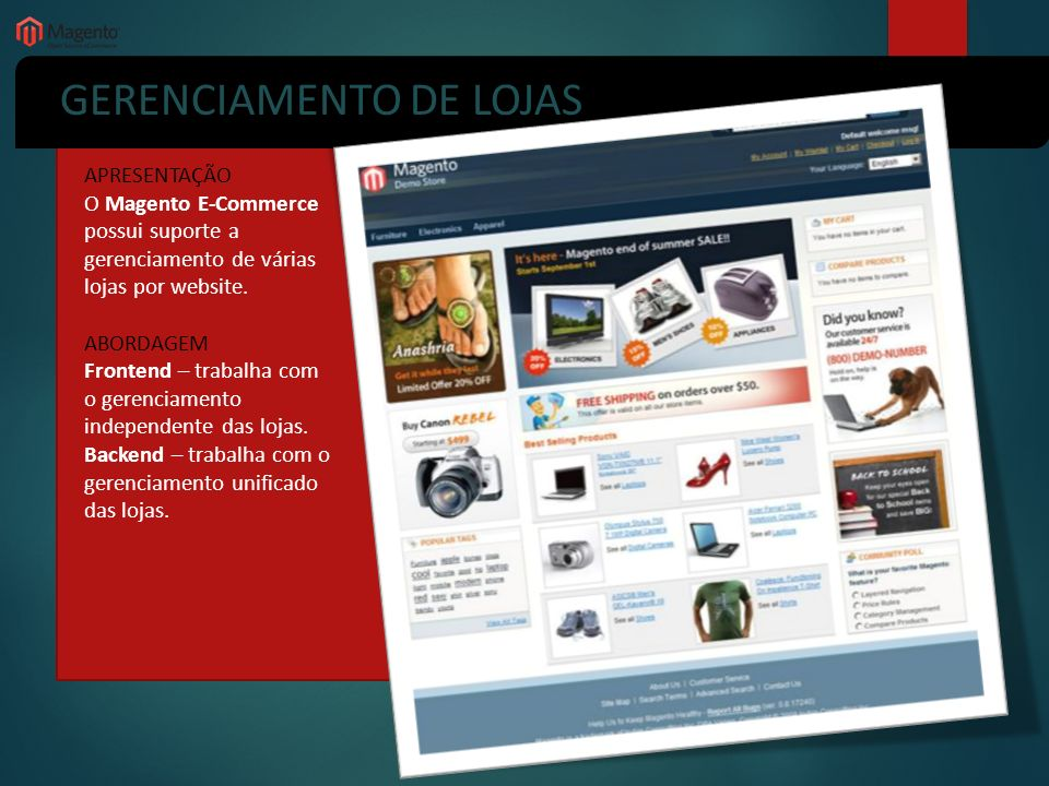 GERENCIAMENTO DE LOJAS APRESENTAÇÃO O Magento E-Commerce possui suporte a gerenciamento de várias lojas por website. ABORDAGEM Frontend – trabalha com