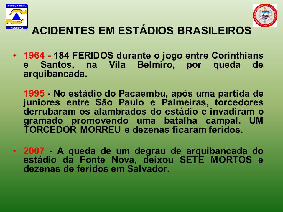 ACIDENTES EM ESTÁDIOS BRASILEIROS 1964 - 184 FERIDOS durante o jogo entre Corinthians e Santos, na Vila Belmiro, por queda de arquibancada. 1995 - No
