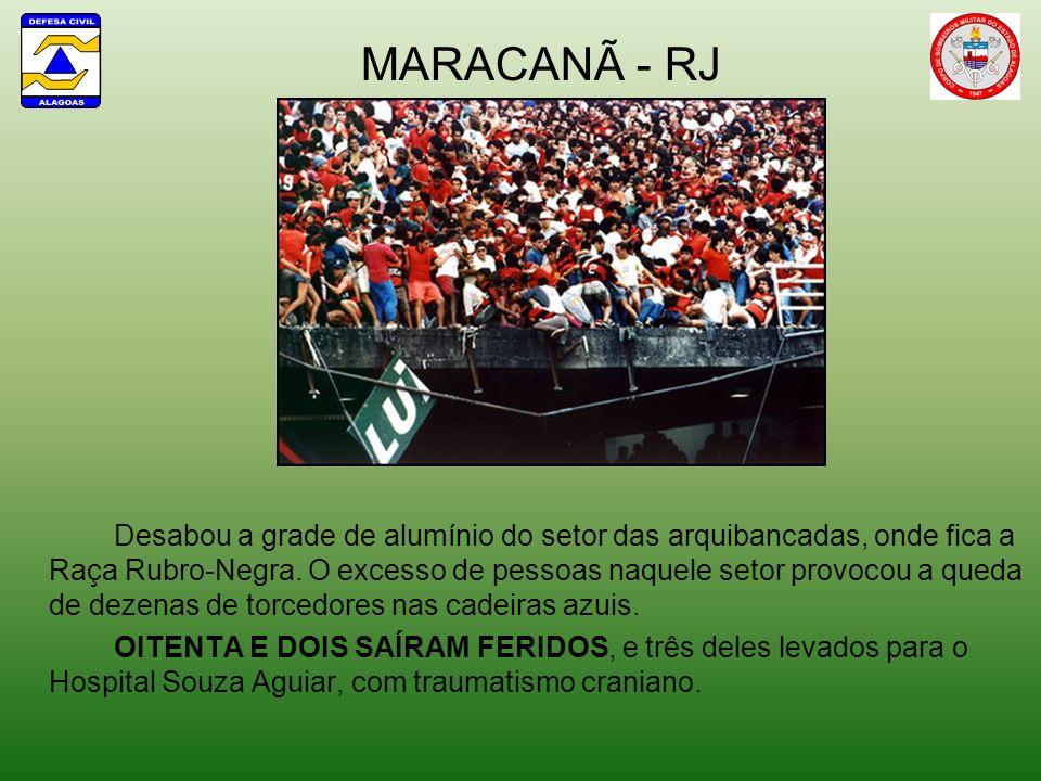 MARACANÃ - RJ Desabou a grade de alumínio do setor das arquibancadas, onde fica a Raça Rubro-Negra. O excesso de pessoas naquele setor provocou a qued
