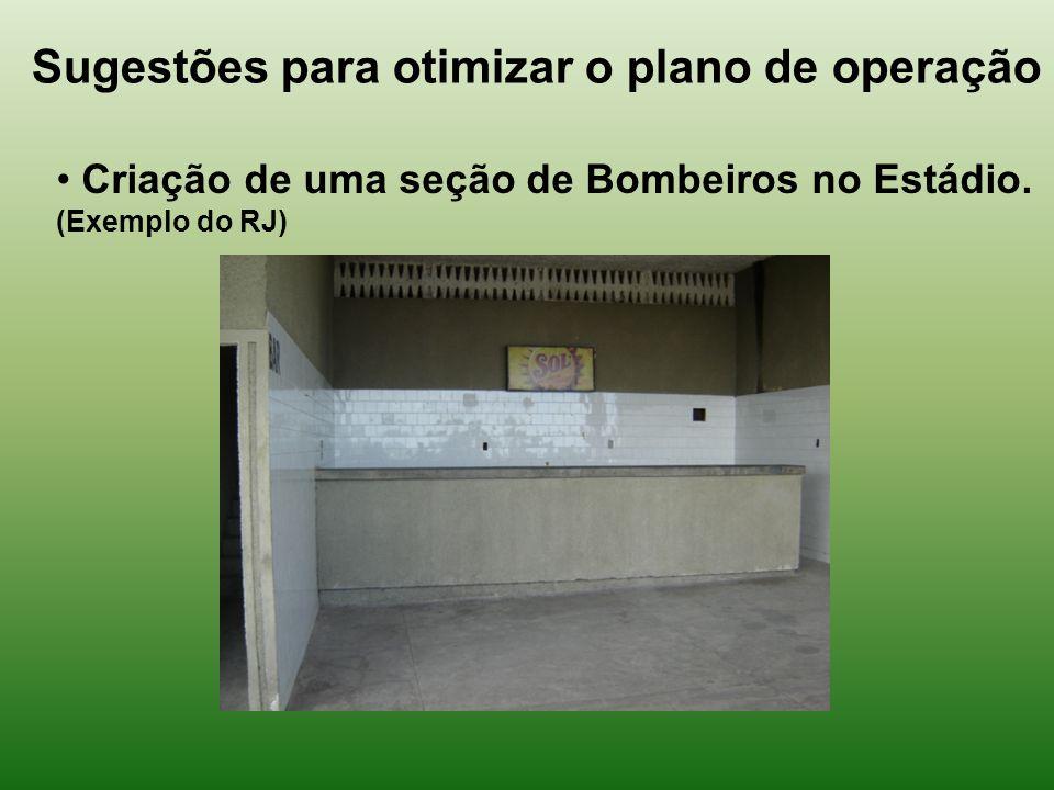 Sugestões para otimizar o plano de operação Criação de uma seção de Bombeiros no Estádio.