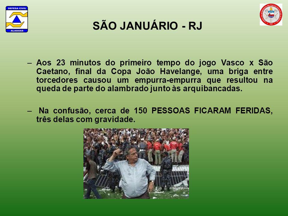 SÃO JANUÁRIO - RJ –Aos 23 minutos do primeiro tempo do jogo Vasco x São Caetano, final da Copa João Havelange, uma briga entre torcedores causou um empurra-empurra que resultou na queda de parte do alambrado junto às arquibancadas.