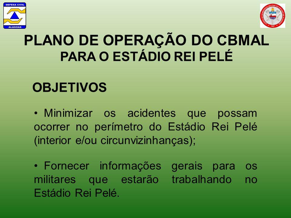 PLANO DE OPERAÇÃO DO CBMAL PARA O ESTÁDIO REI PELÉ OBJETIVOS Fornecer informações gerais para os militares que estarão trabalhando no Estádio Rei Pelé.