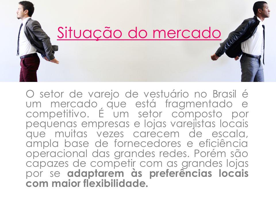 Situação do mercado O setor de varejo de vestuário no Brasil é um mercado que está fragmentado e competitivo. É um setor composto por pequenas empresa
