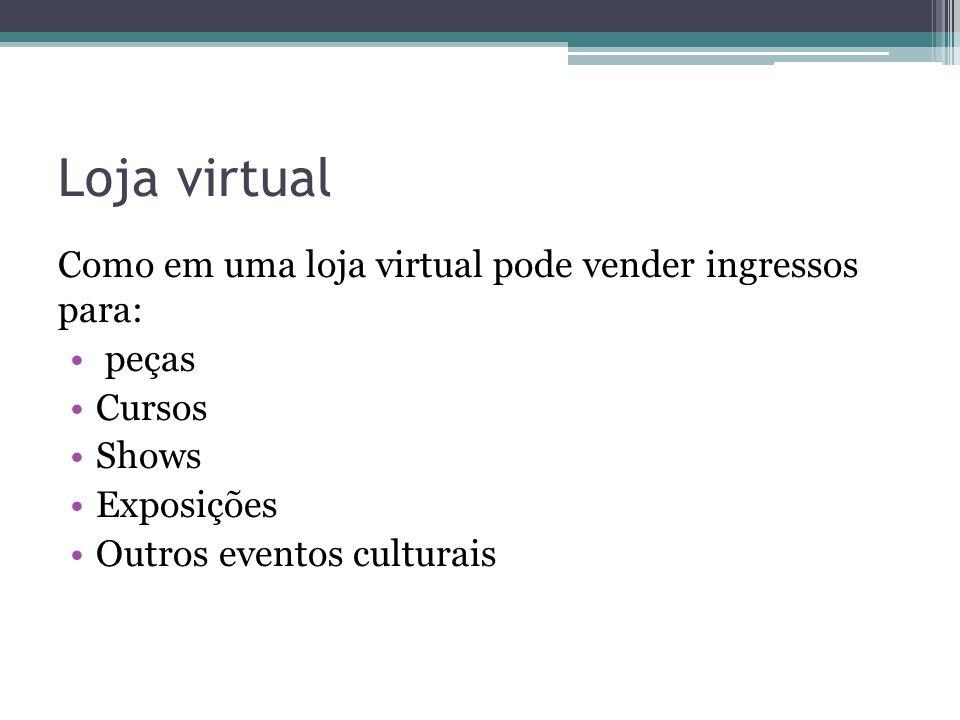 Loja virtual Como em uma loja virtual pode vender ingressos para: peças Cursos Shows Exposições Outros eventos culturais