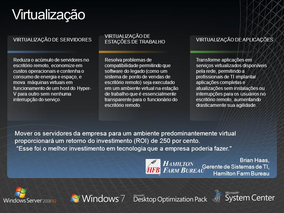 Virtualização Mover os servidores da empresa para um ambiente predominantemente virtual proporcionará um retorno do investimento (ROI) de 250 por cent
