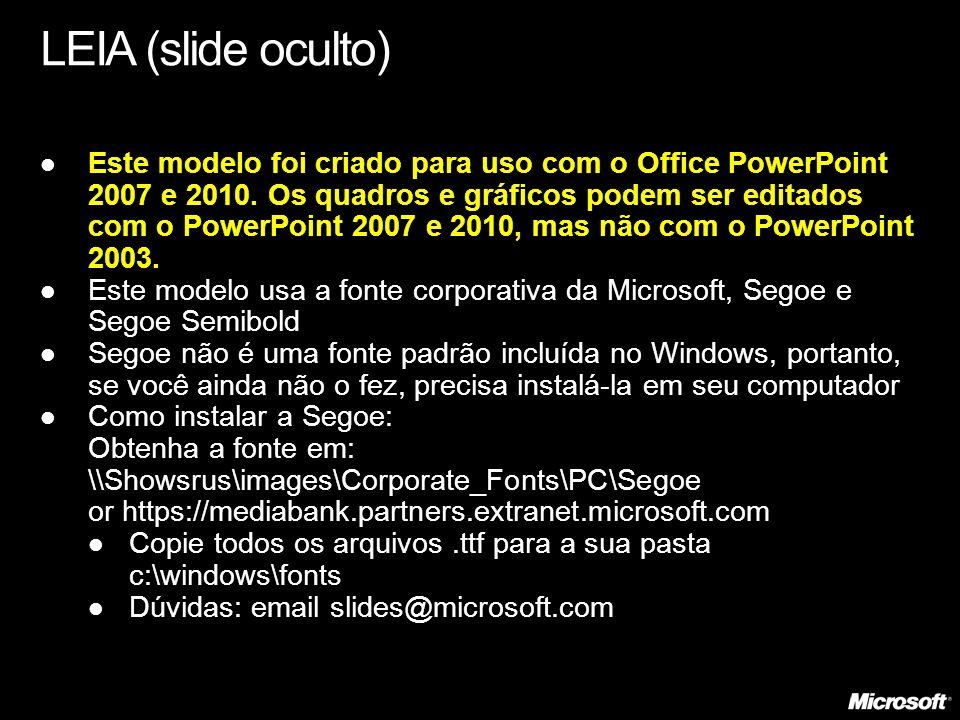 LEIA (slide oculto) Este modelo foi criado para uso com o Office PowerPoint 2007 e 2010. Os quadros e gráficos podem ser editados com o PowerPoint 200
