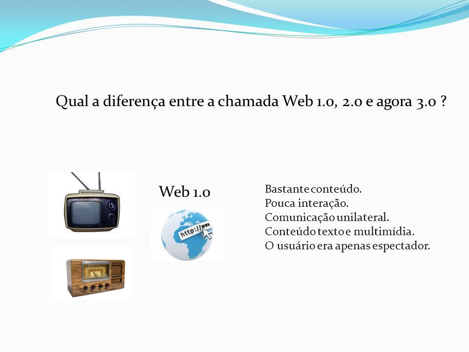 Qual a diferença entre a chamada Web 1.0, 2.0 e agora 3.0 ? Web 1.0 Bastante conteúdo. Pouca interação. Comunicação unilateral. Conteúdo texto e multi