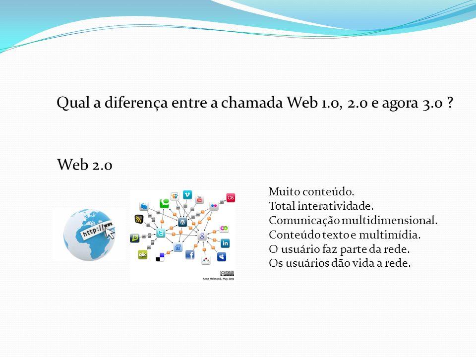 Web 2.0 Muito conteúdo. Total interatividade. Comunicação multidimensional. Conteúdo texto e multimídia. O usuário faz parte da rede. Os usuários dão