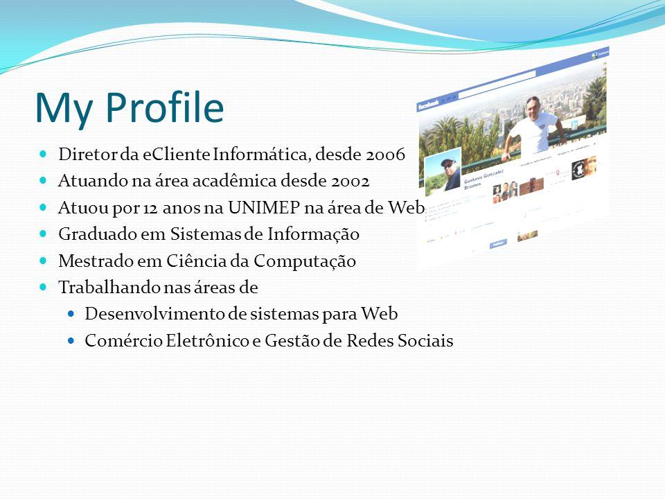 My Profile Diretor da eCliente Informática, desde 2006 Atuando na área acadêmica desde 2002 Atuou por 12 anos na UNIMEP na área de Web Graduado em Sis