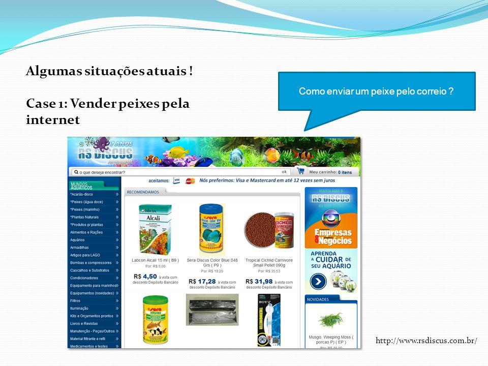 Algumas situações atuais ! Case 1: Vender peixes pela internet Como enviar um peixe pelo correio ? http://www.rsdiscus.com.br/