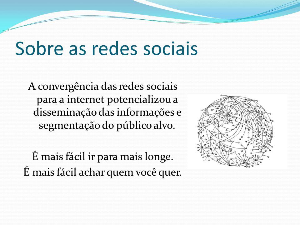 Sobre as redes sociais A convergência das redes sociais para a internet potencializou a disseminação das informações e segmentação do público alvo. É