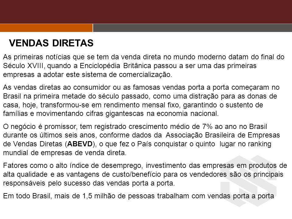 Informações sobre o segmento de Vendas Diretas Fonte Associação Brasileira de Empresa de Vendas Diretas