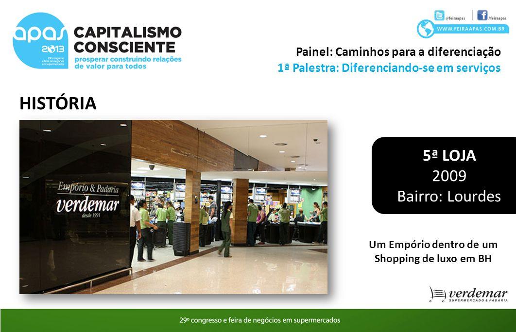 HISTÓRIA 1ª Palestra: Diferenciando-se em serviços Painel: Caminhos para a diferenciação 5ª LOJA 2009 Bairro: Lourdes Um Empório dentro de um Shopping