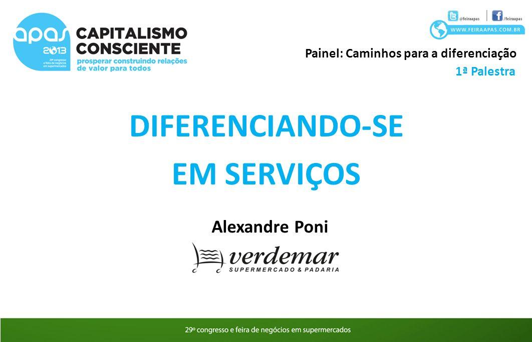 DIFERENCIANDO-SE EM SERVIÇOS Painel: Caminhos para a diferenciação Alexandre Poni 1ª Palestra