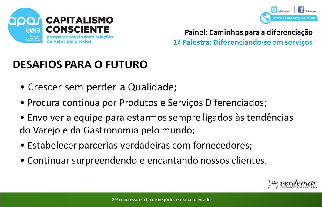 1ª Palestra: Diferenciando-se em serviços Painel: Caminhos para a diferenciação DESAFIOS PARA O FUTURO Crescer sem perder a Qualidade; Procura contínu