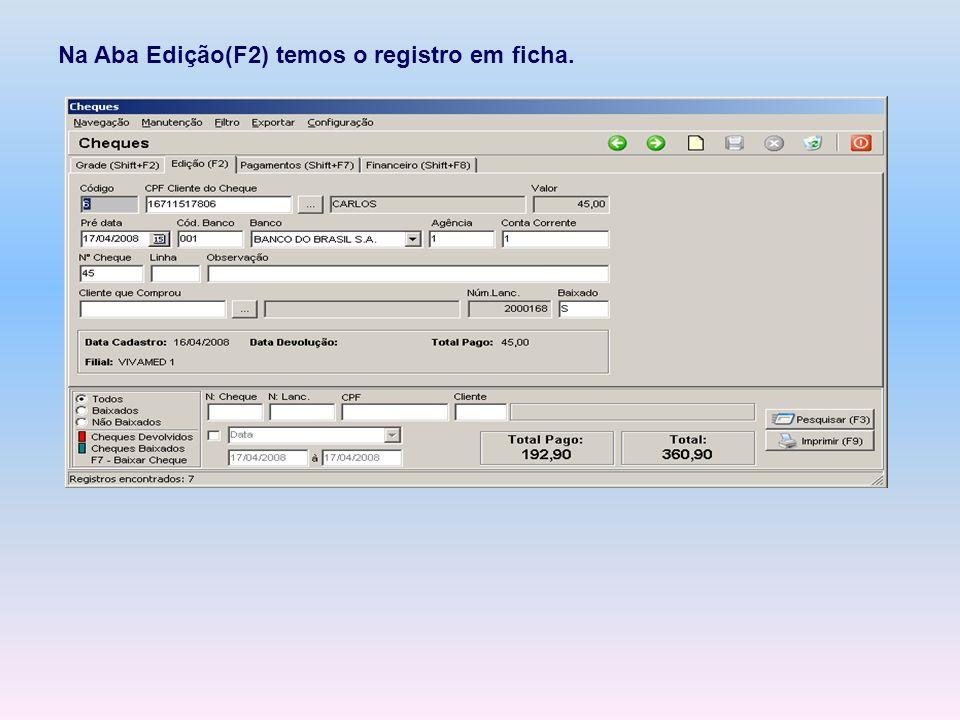 Na Aba Edição(F2) temos o registro em ficha.