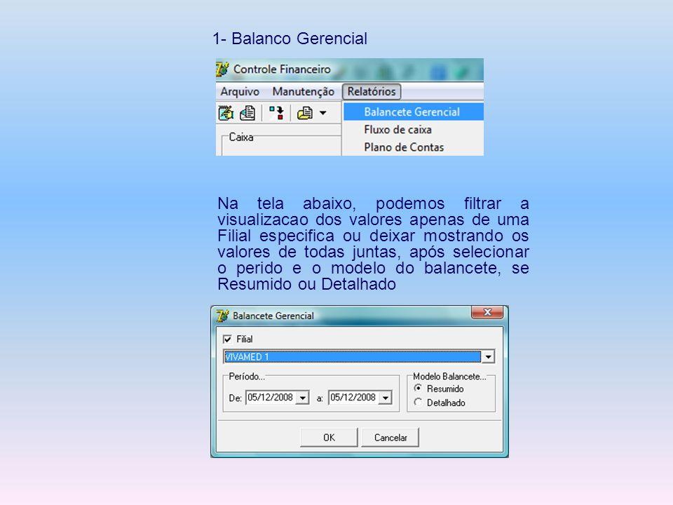 1- Balanco Gerencial Na tela abaixo, podemos filtrar a visualizacao dos valores apenas de uma Filial especifica ou deixar mostrando os valores de toda