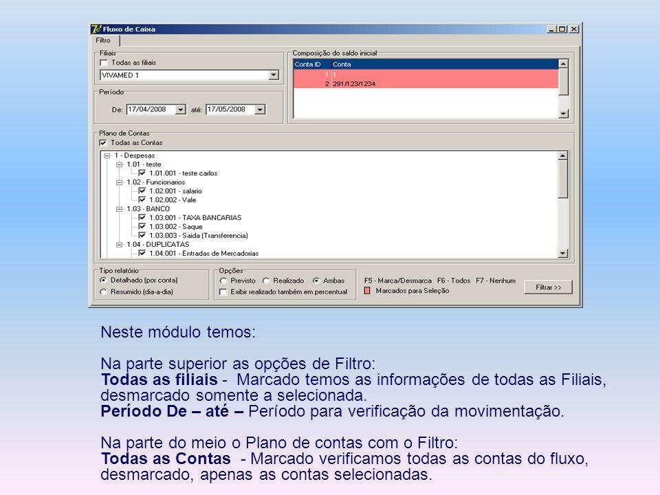 Neste módulo temos: Na parte superior as opções de Filtro: Todas as filiais - Marcado temos as informações de todas as Filiais, desmarcado somente a s