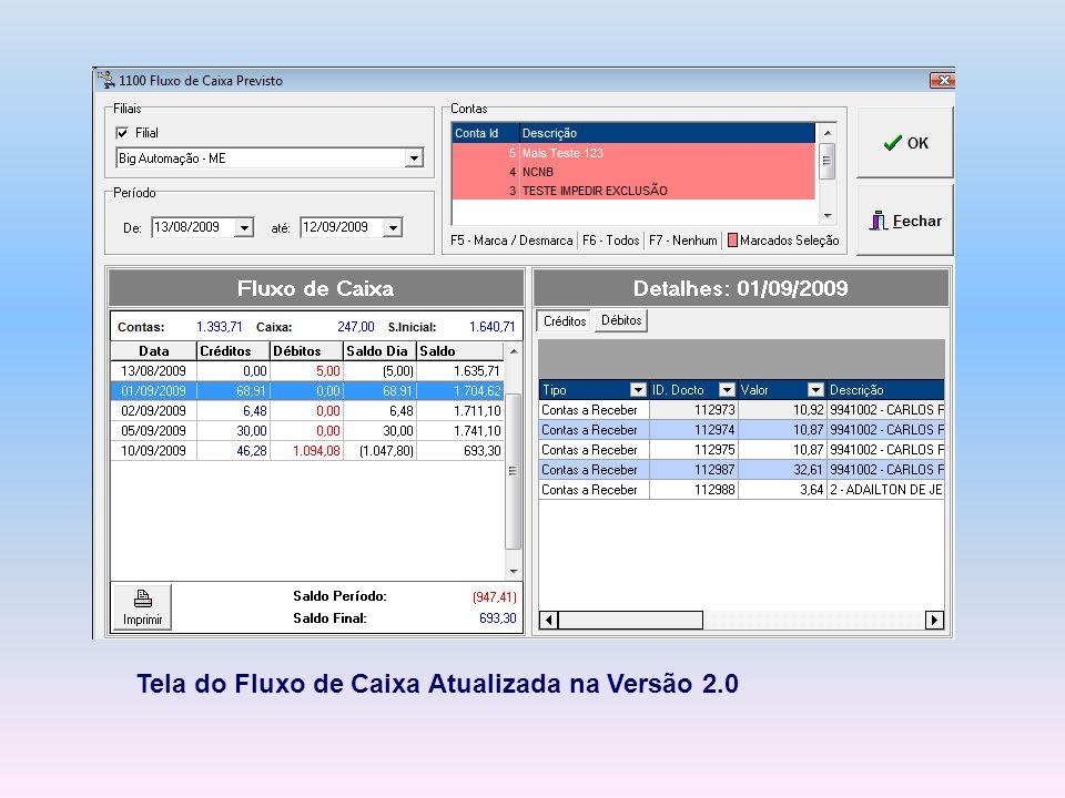 Tela do Fluxo de Caixa Atualizada na Versão 2.0