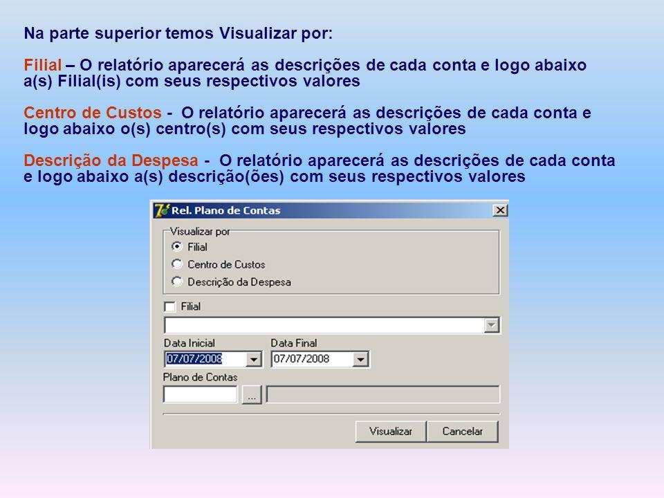 Na parte superior temos Visualizar por: Filial – O relatório aparecerá as descrições de cada conta e logo abaixo a(s) Filial(is) com seus respectivos