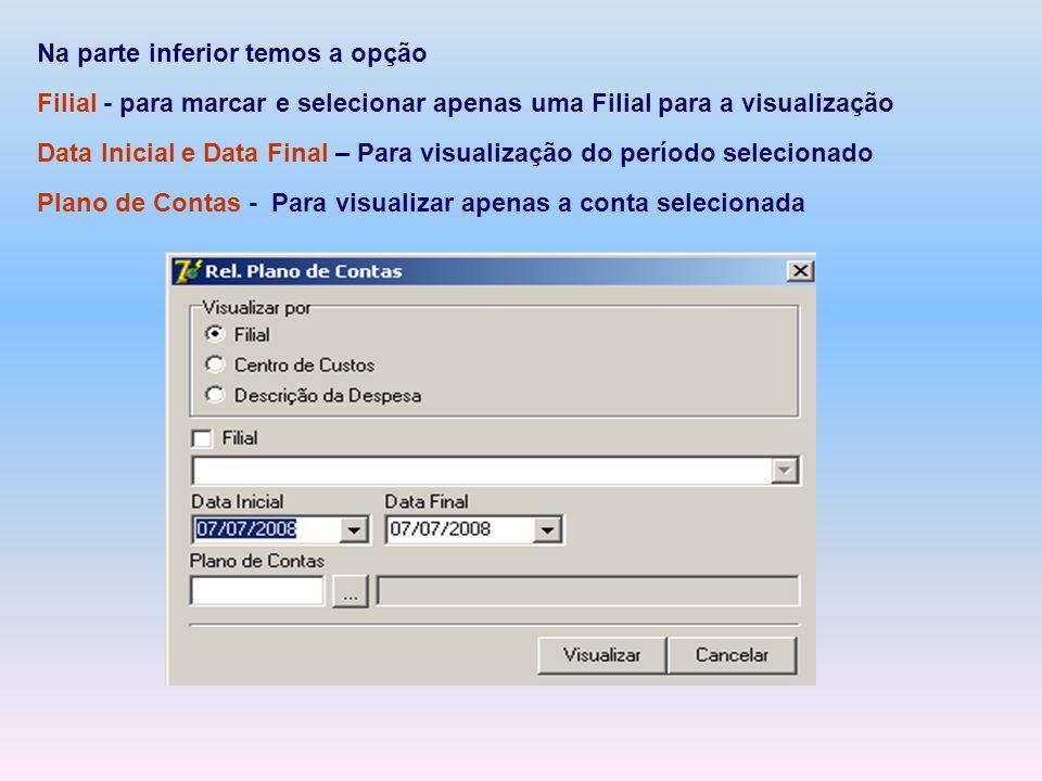 Na parte inferior temos a opção Filial - para marcar e selecionar apenas uma Filial para a visualização Data Inicial e Data Final – Para visualização