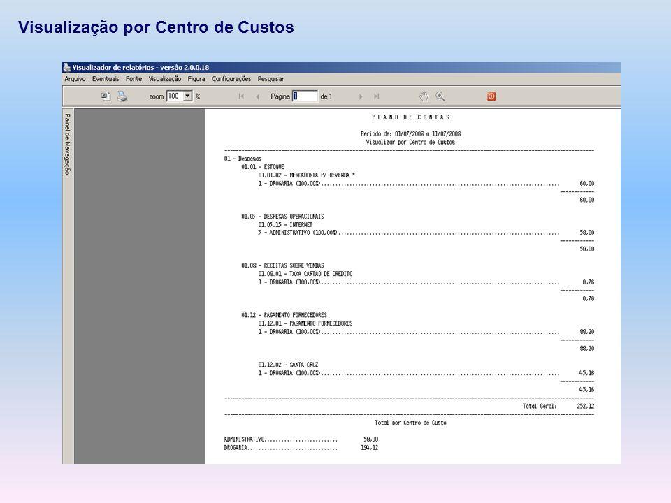 Visualização por Centro de Custos