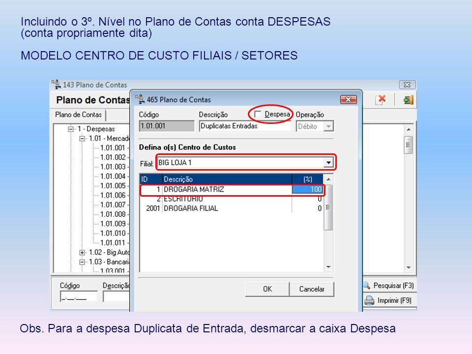 Incluindo o 3º. Nível no Plano de Contas conta DESPESAS (conta propriamente dita) MODELO CENTRO DE CUSTO FILIAIS / SETORES Obs. Para a despesa Duplica
