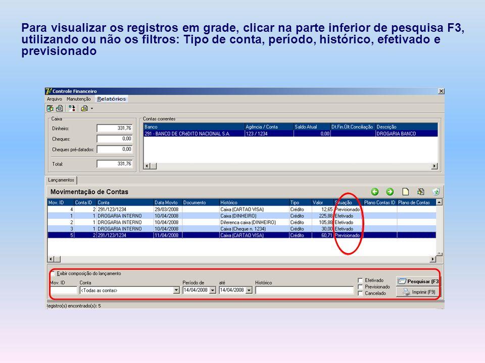 Para visualizar os registros em grade, clicar na parte inferior de pesquisa F3, utilizando ou não os filtros: Tipo de conta, período, histórico, efeti