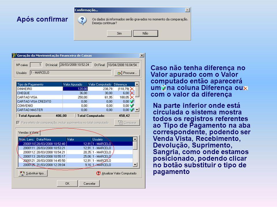 Após confirmar Caso não tenha diferença no Valor apurado com o Valor computado então aparecerá um na coluna Diferença ou com o valor da diferença Na p