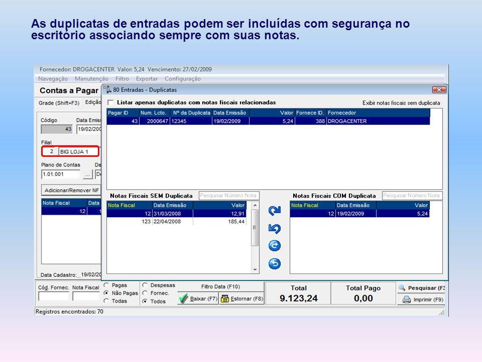 As duplicatas de entradas podem ser incluídas com segurança no escritório associando sempre com suas notas.