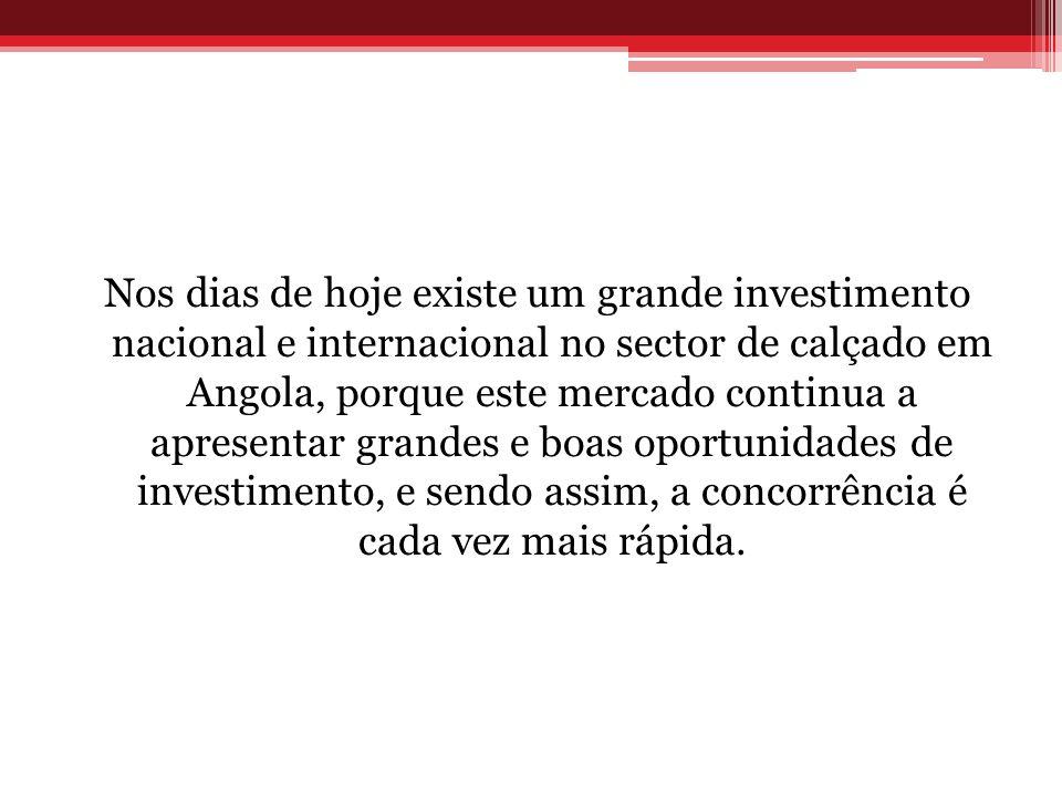 Nos dias de hoje existe um grande investimento nacional e internacional no sector de calçado em Angola, porque este mercado continua a apresentar gran