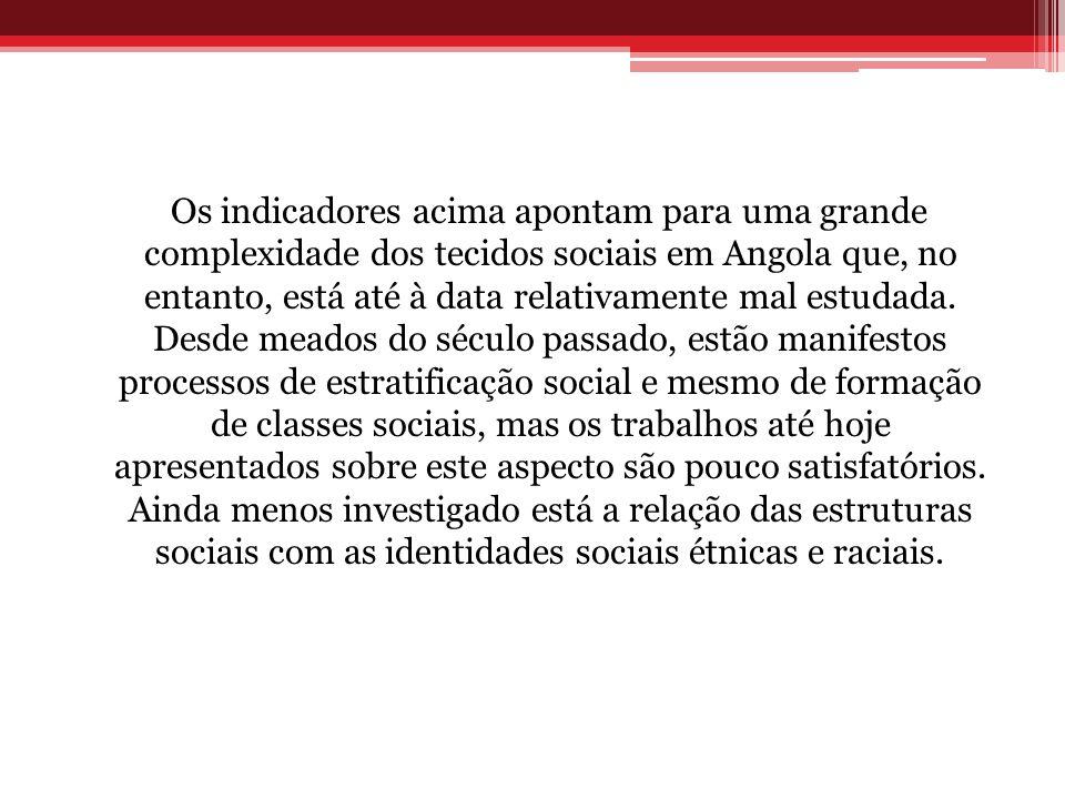 Os indicadores acima apontam para uma grande complexidade dos tecidos sociais em Angola que, no entanto, está até à data relativamente mal estudada. D