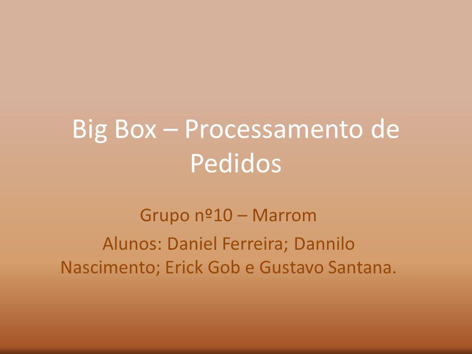 Big Box – Processamento de Pedidos Grupo nº10 – Marrom Alunos: Daniel Ferreira; Dannilo Nascimento; Erick Gob e Gustavo Santana.