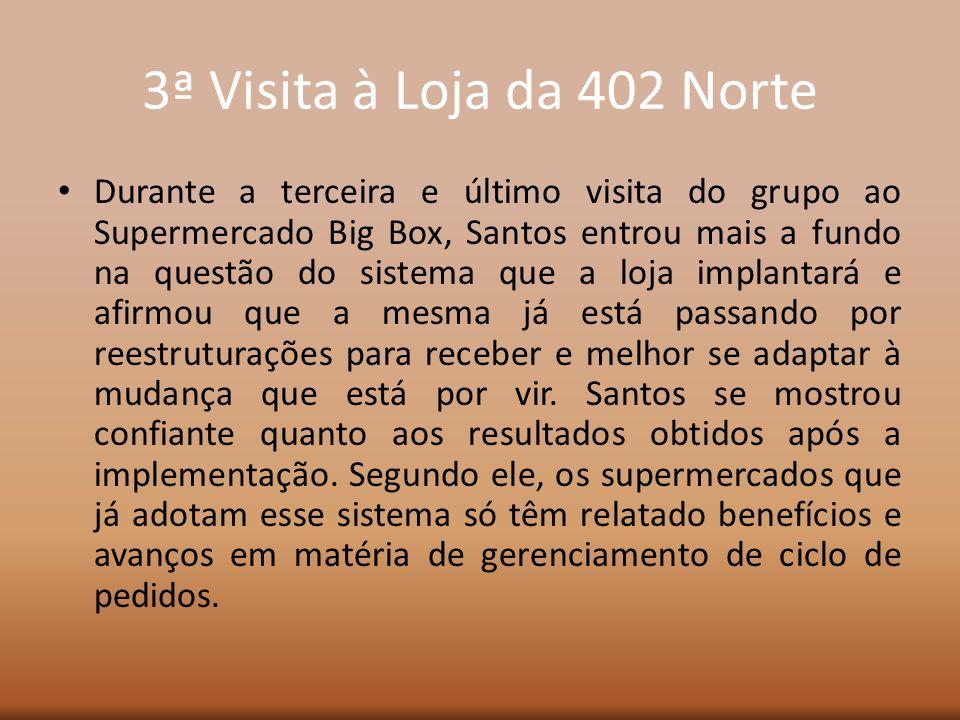 3ª Visita à Loja da 402 Norte Durante a terceira e último visita do grupo ao Supermercado Big Box, Santos entrou mais a fundo na questão do sistema qu