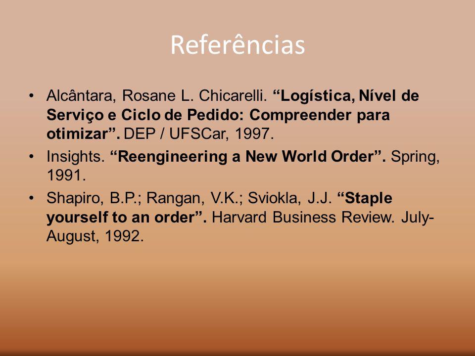 Referências Alcântara, Rosane L. Chicarelli. Logística, Nível de Serviço e Ciclo de Pedido: Compreender para otimizar. DEP / UFSCar, 1997. Insights. R