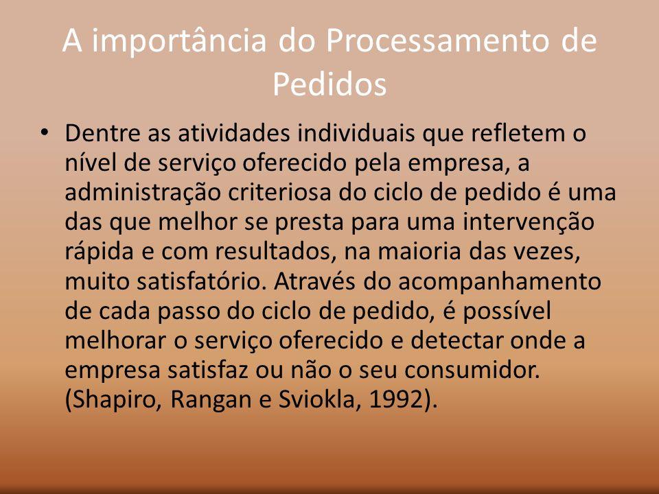 A importância do Processamento de Pedidos Dentre as atividades individuais que refletem o nível de serviço oferecido pela empresa, a administração cri