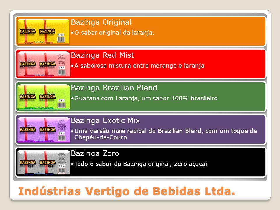 Indústrias Vertigo de Bebidas Ltda. Bazinga Original O sabor original da laranja. Bazinga Red Mist A saborosa mistura entre morango e laranja Bazinga
