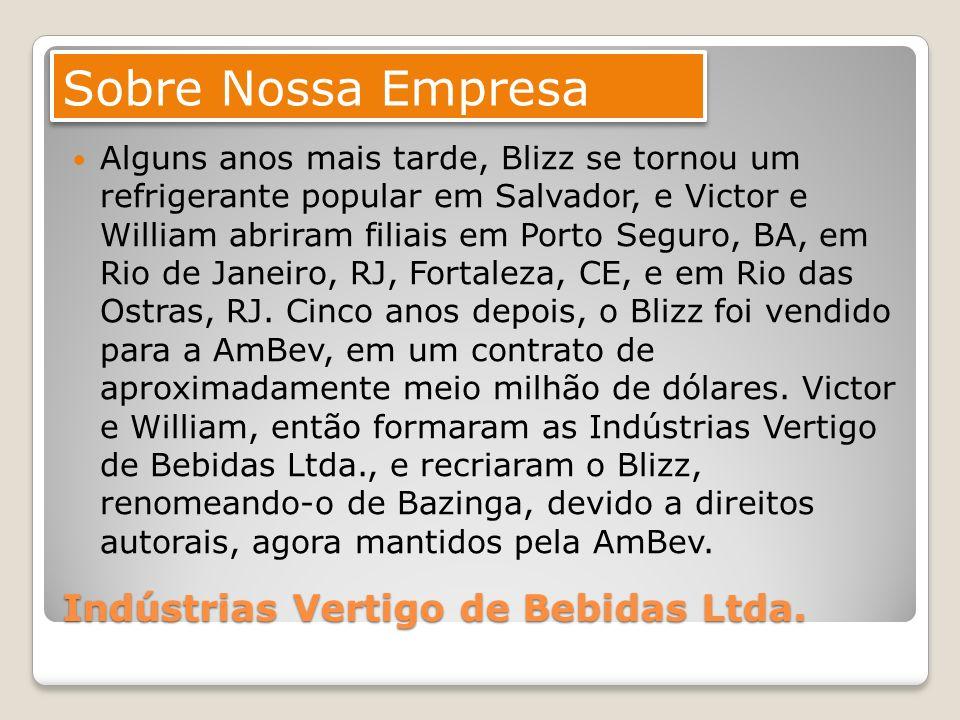 Indústrias Vertigo de Bebidas Ltda. Alguns anos mais tarde, Blizz se tornou um refrigerante popular em Salvador, e Victor e William abriram filiais em