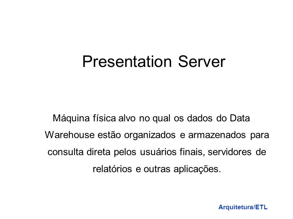 Data Staging Area Área de transição dos dados (dados estagiários) e definição dos processos para limpeza, transporte, combinação, integração, melhoram