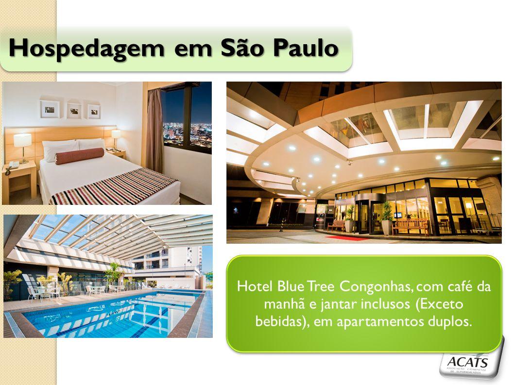 Hospedagem em São Paulo Hotel Blue Tree Congonhas, com café da manhã e jantar inclusos (Exceto bebidas), em apartamentos duplos.