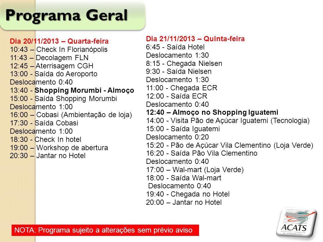 Programa Geral Dia 20/11/2013 – Quarta-feira 10:43 – Check In Florianópolis 11:43 – Decolagem FLN 12:45 – Aterrisagem CGH 13:00 - Saída do Aeroporto D