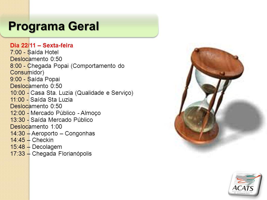Dia 22/11 – Sexta-feira 7:00 - Saída Hotel Deslocamento 0:50 8:00 - Chegada Popai (Comportamento do Consumidor) 9:00 - Saída Popai Deslocamento 0:50 1