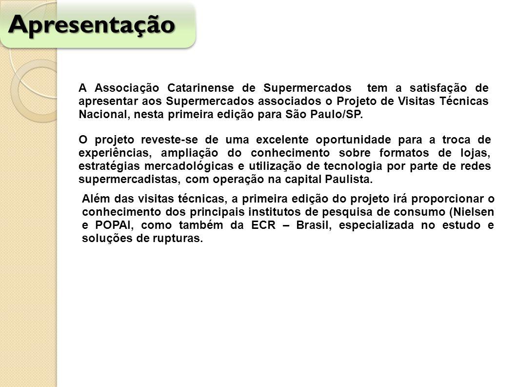 Objetivo específico Oferecer aos profissionais das empresas associados da ACATS a oportunidade da realização de visitas monitoradas junto às principais lojas de varejo de autosserviço da cidade de São Paulo, bem como algumas instituições que integram a cadeia de varejo.