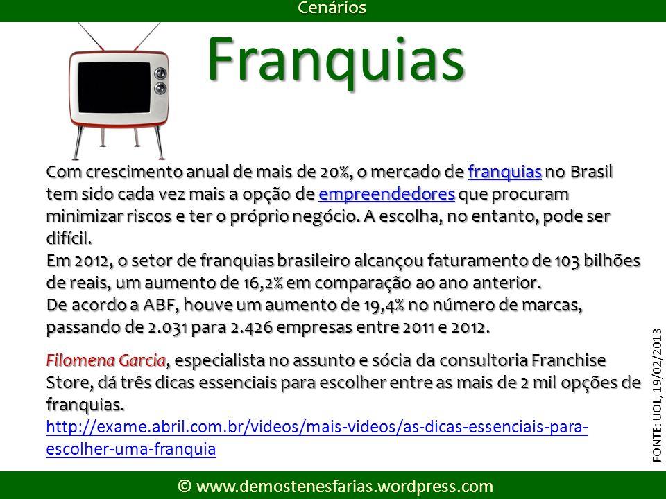 Cenários FONTE: UOL, 19/02/2013 © www.demostenesfarias.wordpress.com Franquias Com crescimento anual de mais de 20%, o mercado de franquias no Brasil tem sido cada vez mais a opção de empreendedores que procuram minimizar riscos e ter o próprio negócio.